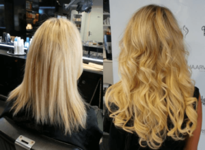 hairextensions blond met krul