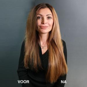 Voor en na foto van resultaat Hairextensions