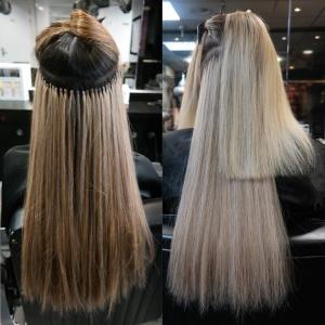 Proces van Hairextensions zetten